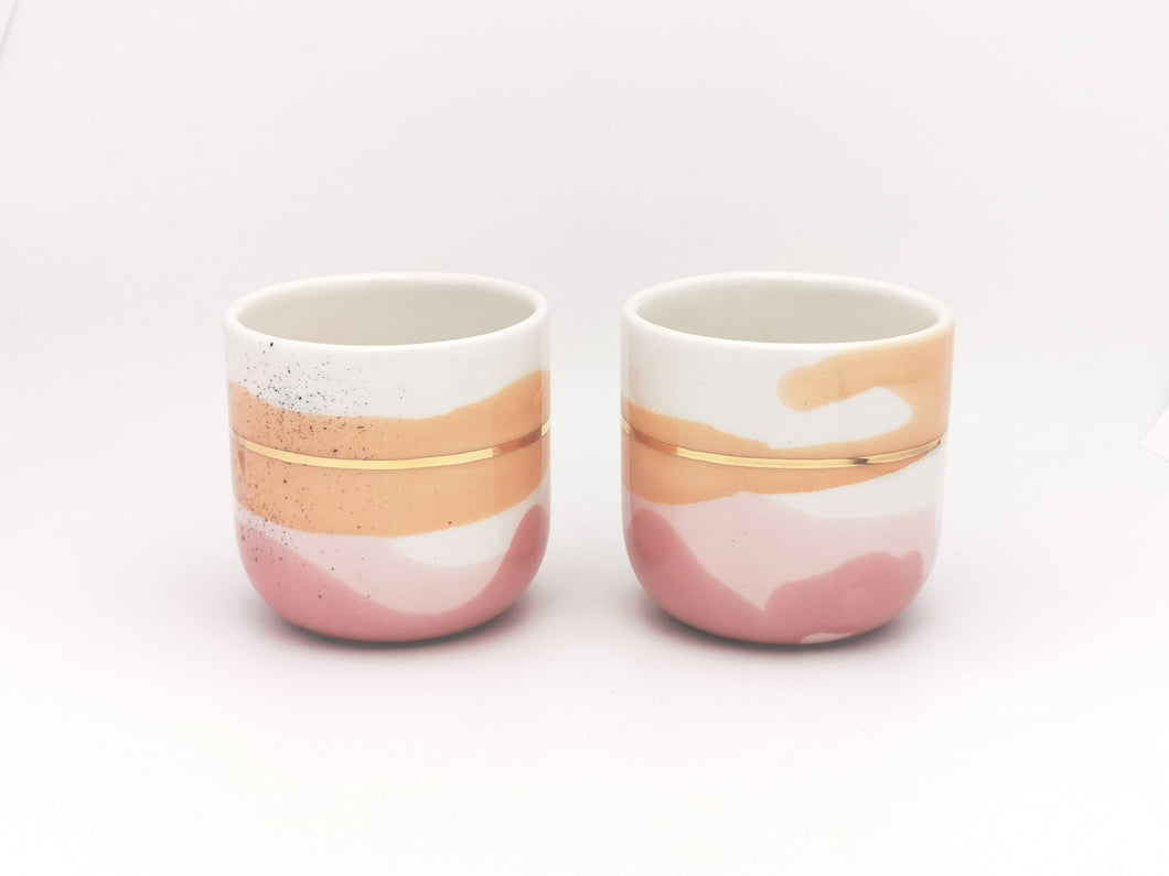 2er-Set Cappuccino Cups, 2.0 dl in Rose & Orange Blush with  Golden Lining - O I A  ceramics
