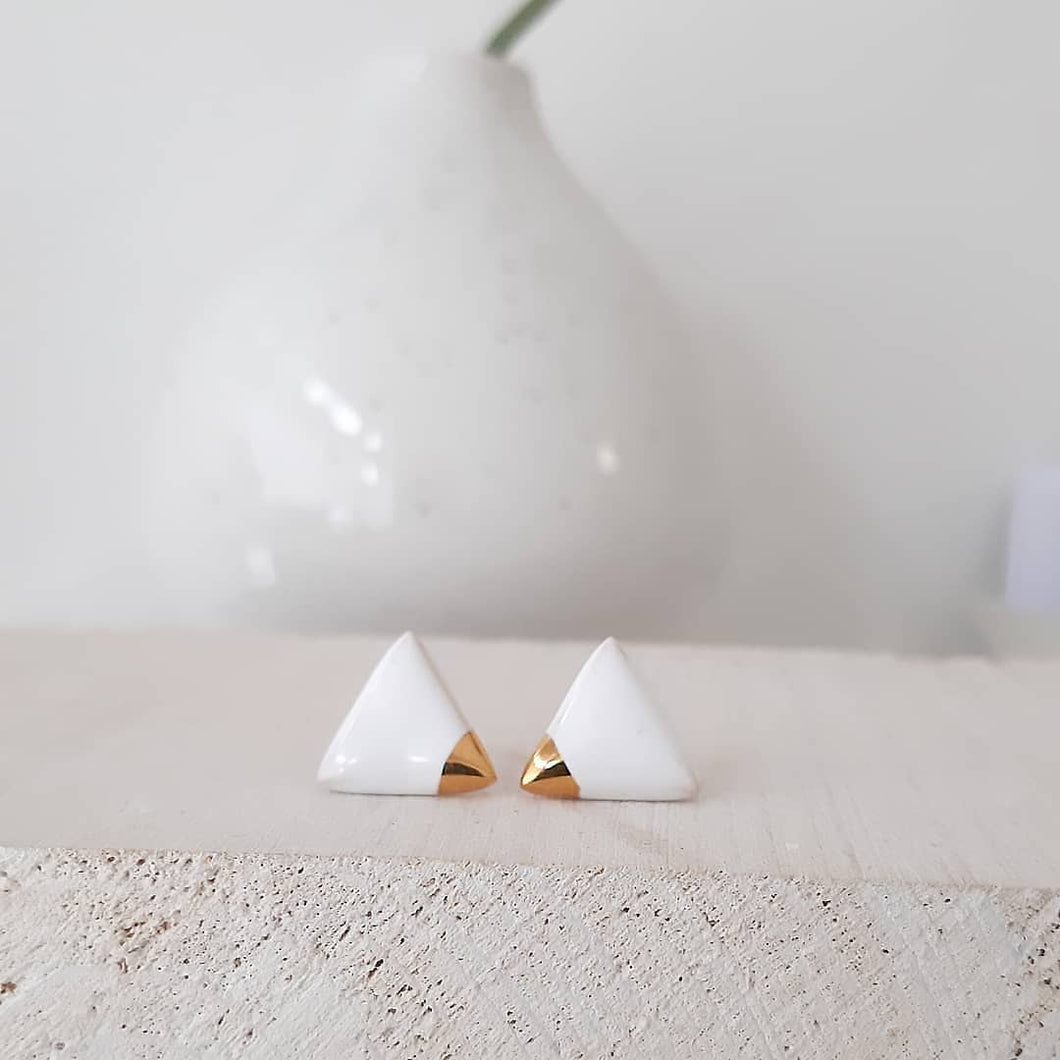 Triangle Earrings in Pure White & Golden Detail - O I A  ceramics