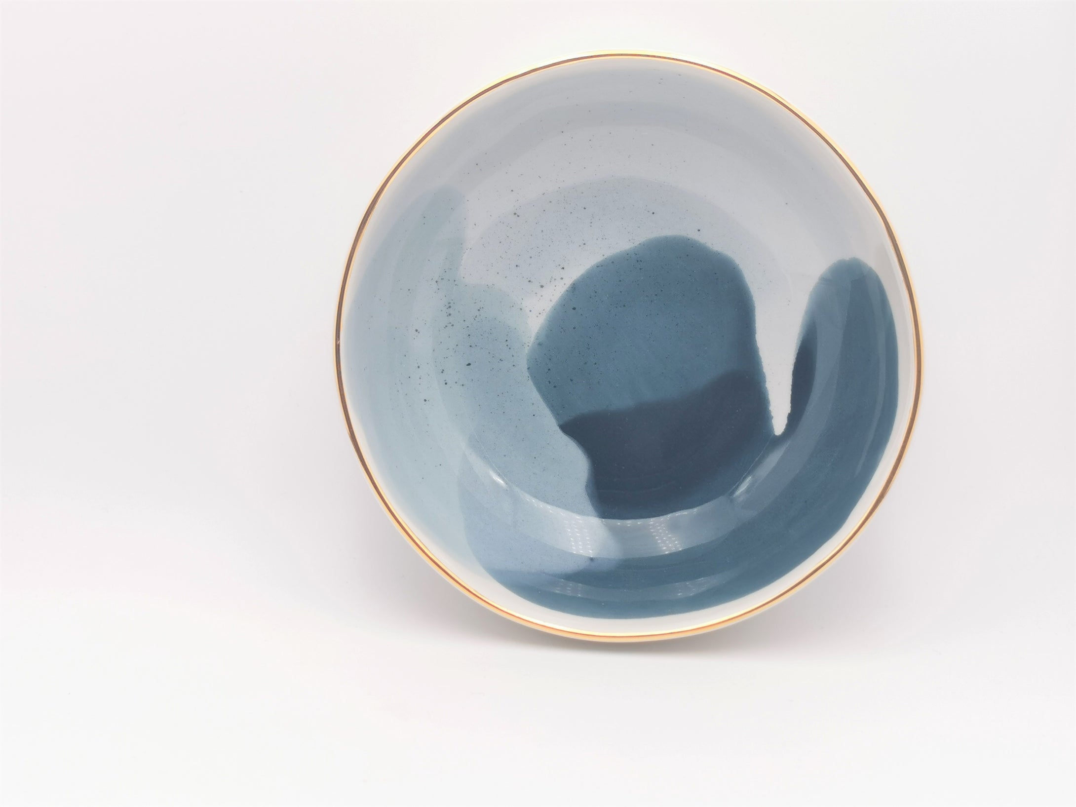 Bowl in Midnight Blues with Golden Lining - O I A  ceramics