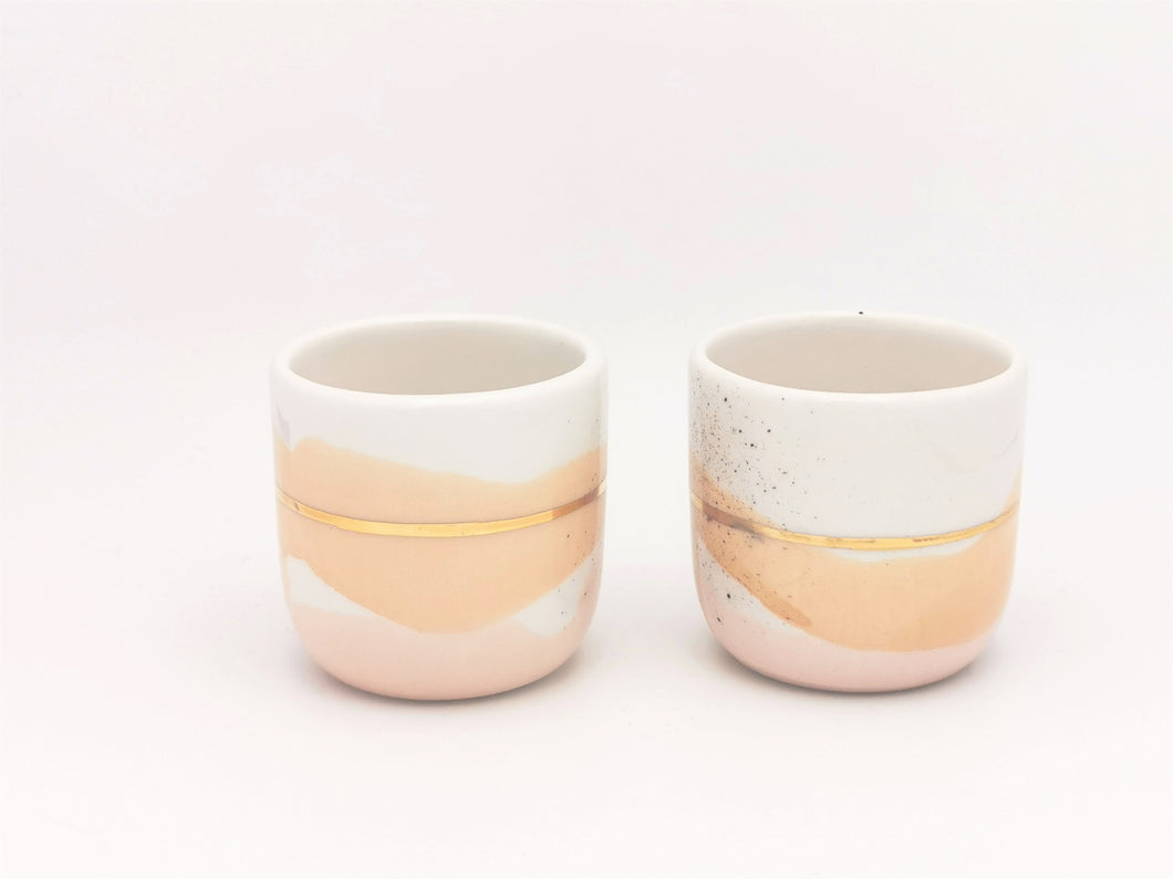 2er-Set in diversen Grössen, Soft Yellow & Pink Blush with Golden Lining - O I A  ceramics