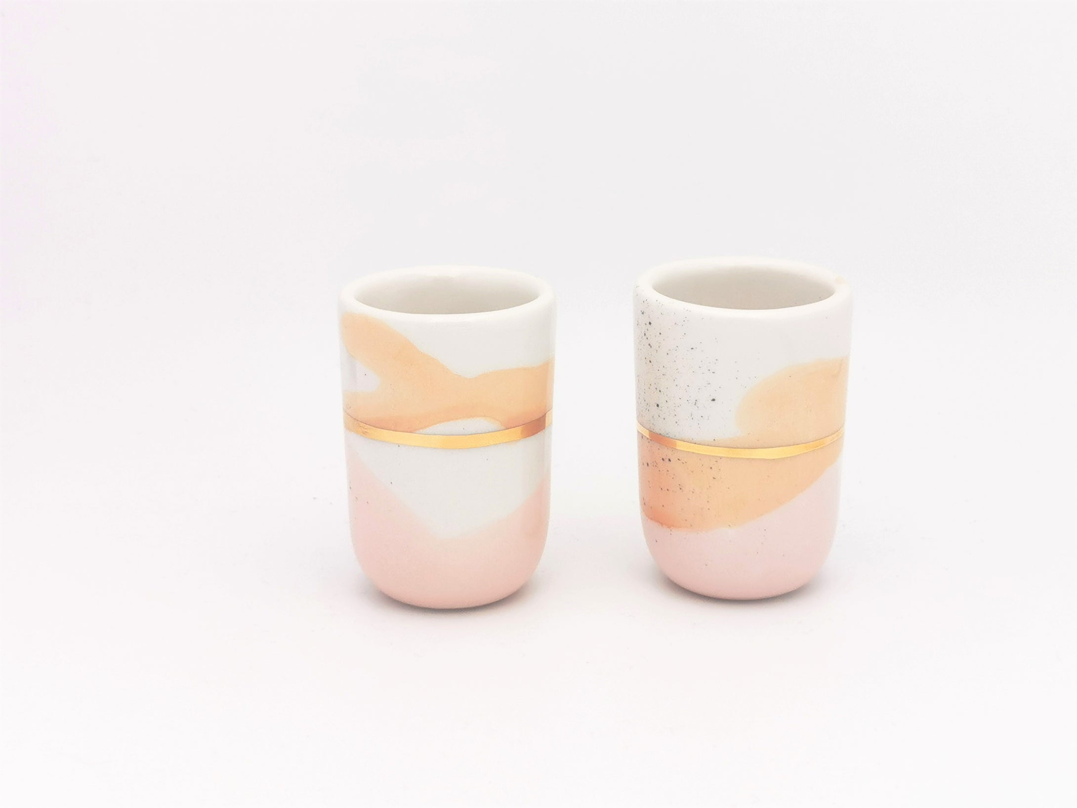2er-Set in diversen Grössen, Apricot & Blush with Golden Lining - O I A  ceramics