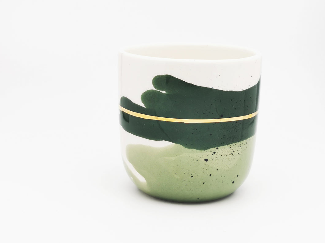 1 x Single Latte Cup, 4.0 dl in Forest Green with Golden Lining - O I A  ceramics