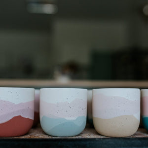 2er-Set in diversen Grössen, Blues, Pinks & Orange with Golden Lining - O I A  ceramics