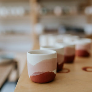 1 x Single Latte Cup, 4.0 dl in Mint, Pink & Blue Dots with Golden Lining - O I A  ceramics