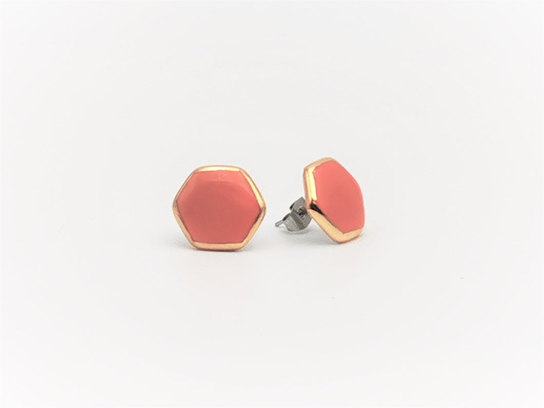 Hexagon Earrings in Mandarin & Golden Rim - O I A  ceramics