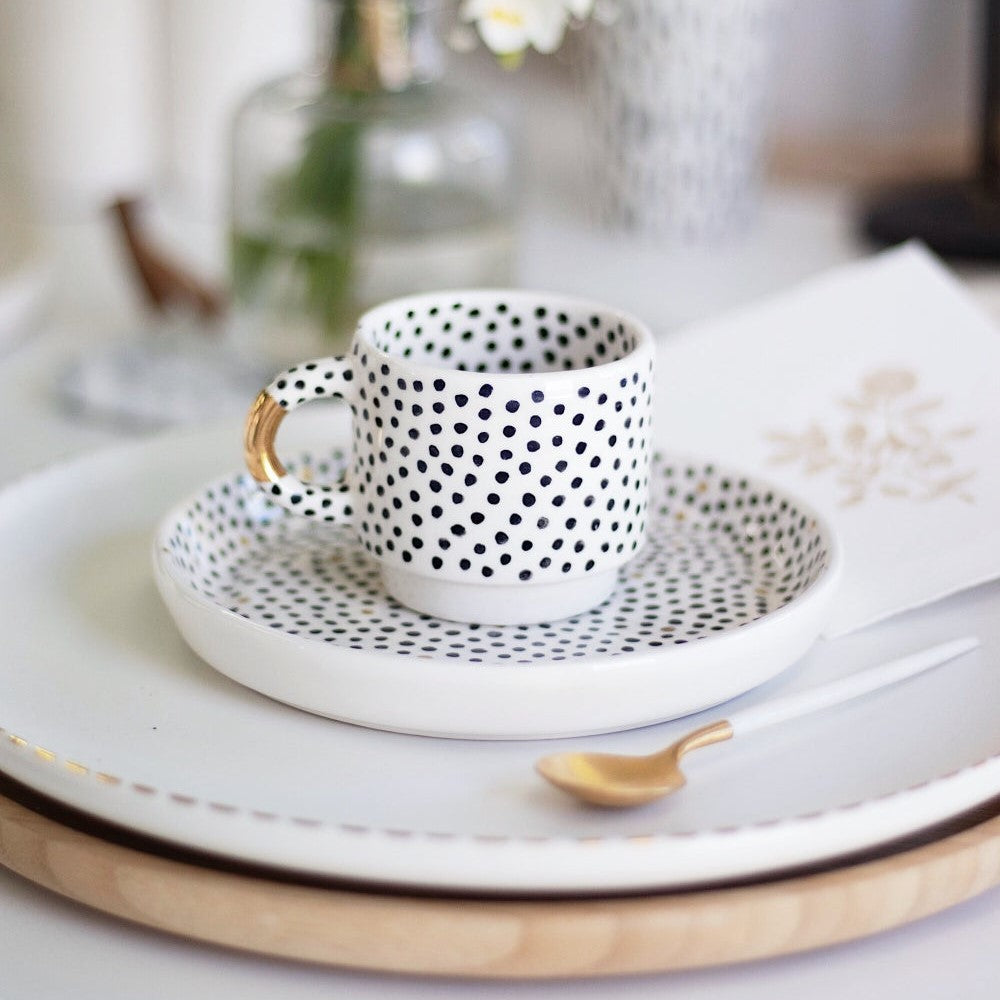 Tapas & Cake Plate in Black Dots with Golden Details - O I A  ceramics