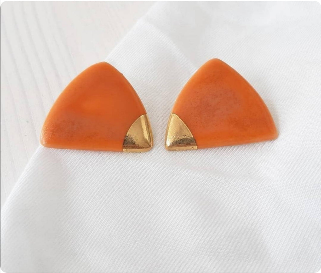 Triangle Earring in Coral & Golden Detail - O I A  ceramics