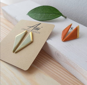 Triangle Earrings in Olive with Golden Detail - O I A  ceramics