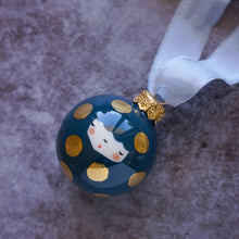 Laden Sie das Bild in den Galerie-Viewer, Christmas Bauble in Midnight Blue with big Golden Dots - O I A  ceramics