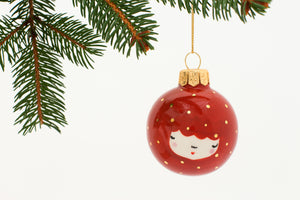Christmas Bauble in Cinnamon with little Golden Dots - O I A  ceramics