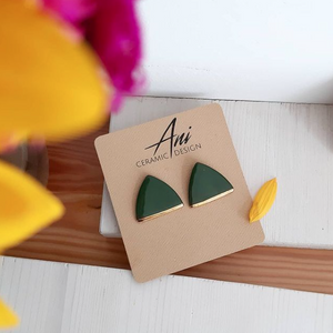 Triangle Earring in Pine Gree  with Golden Detail - O I A  ceramics