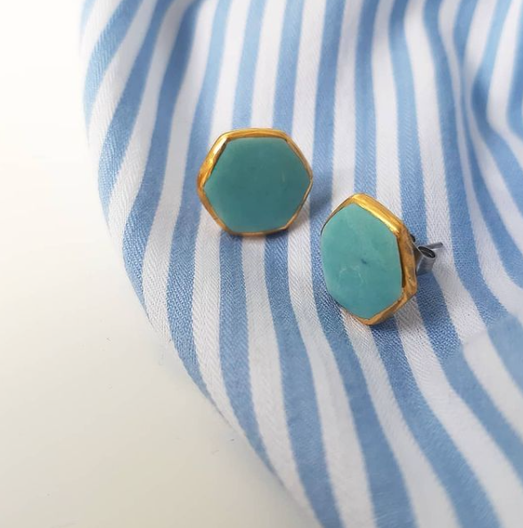Hexagon Earrings in Aqua with Golden Lining - O I A  ceramics