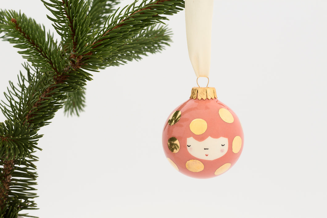Christmas Bauble in Peach Blush with big Golden Dots - O I A  ceramics