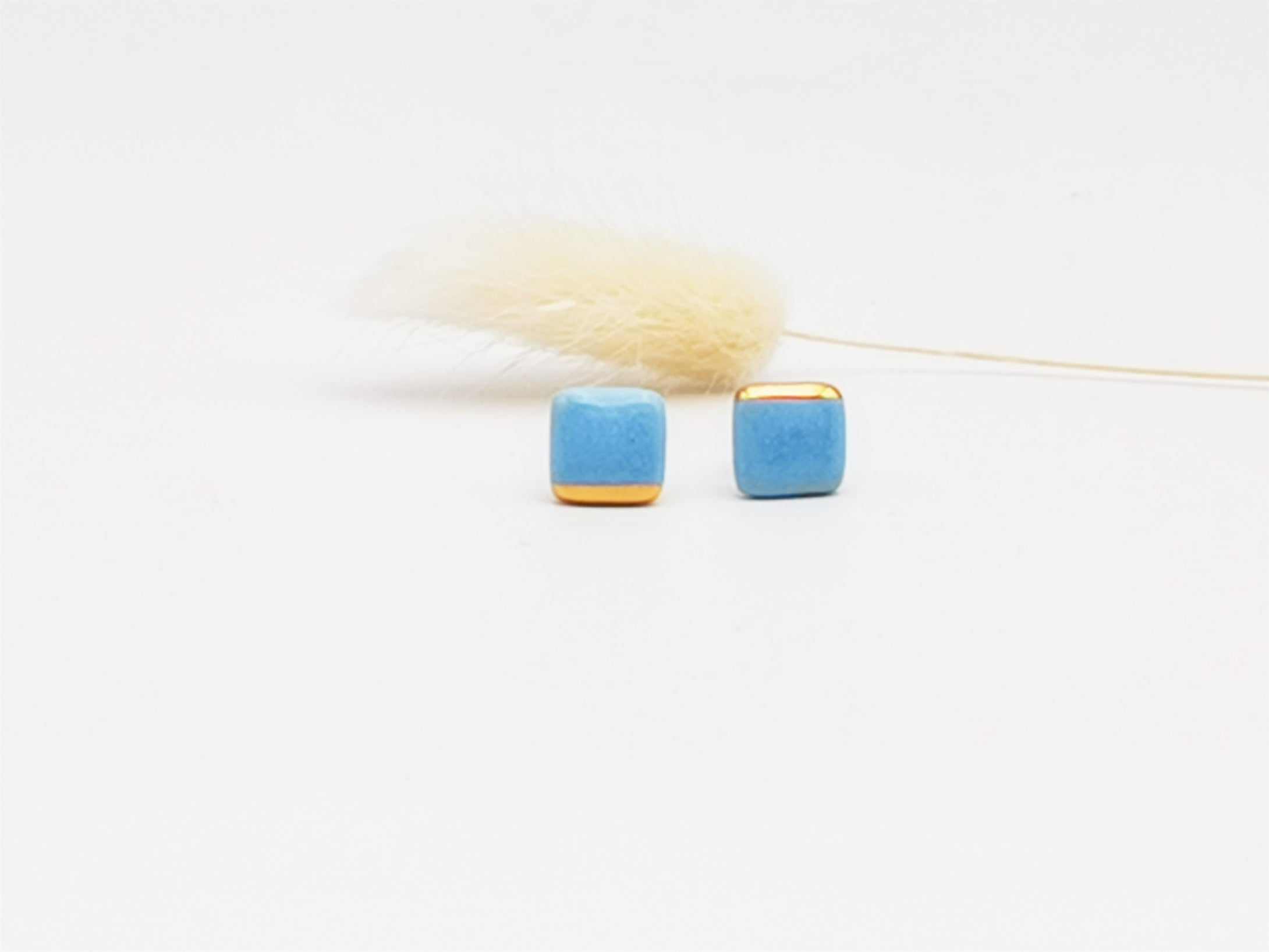 Square Earring in Aqua with Golden Lining - O I A  ceramics