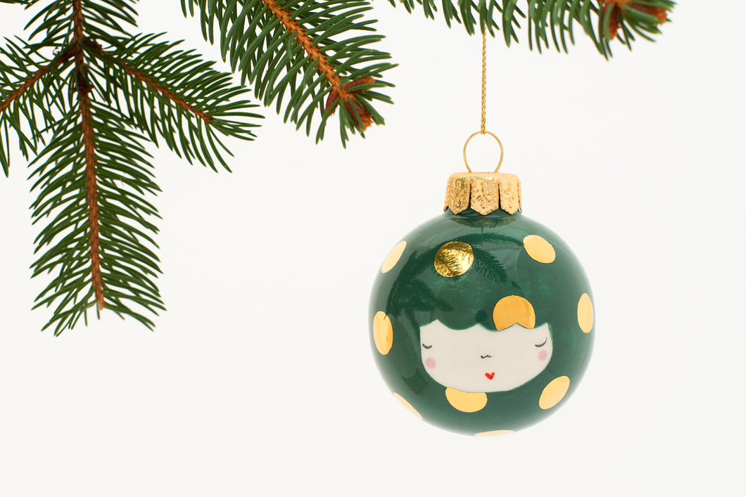 Christmas Bauble in Dark Green with big Golden Dots - O I A  ceramics