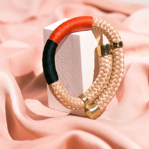 MyJulz - Beige Hole Bangle -Embellished red, black and beige rope with brass caps