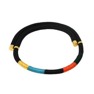 MyJulz - Black Hole Necklace - Black, yellow, turquoise and red embellished rope necklace