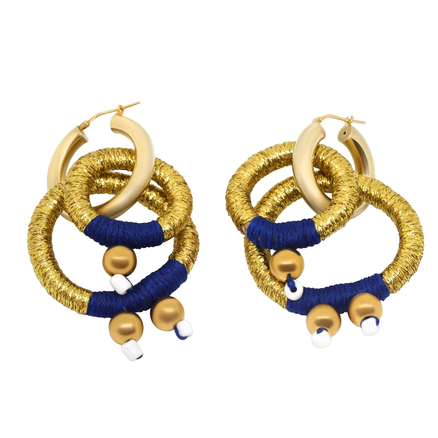 MyJulz - Blue and Gold Earrings - Handmade Statement Earrings
