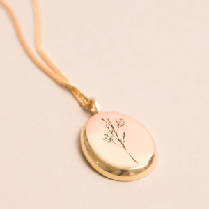 MyJulz - Botanical Gold Pendant Necklace (18k gold chain with 18k gold plated pendant with floral design)
