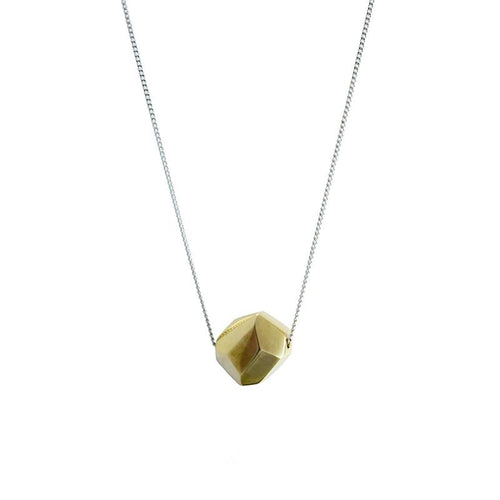 MyJulz - Brass Geo Pendant Necklace (Sterling silver chain with brass with geo-shaped pendant)