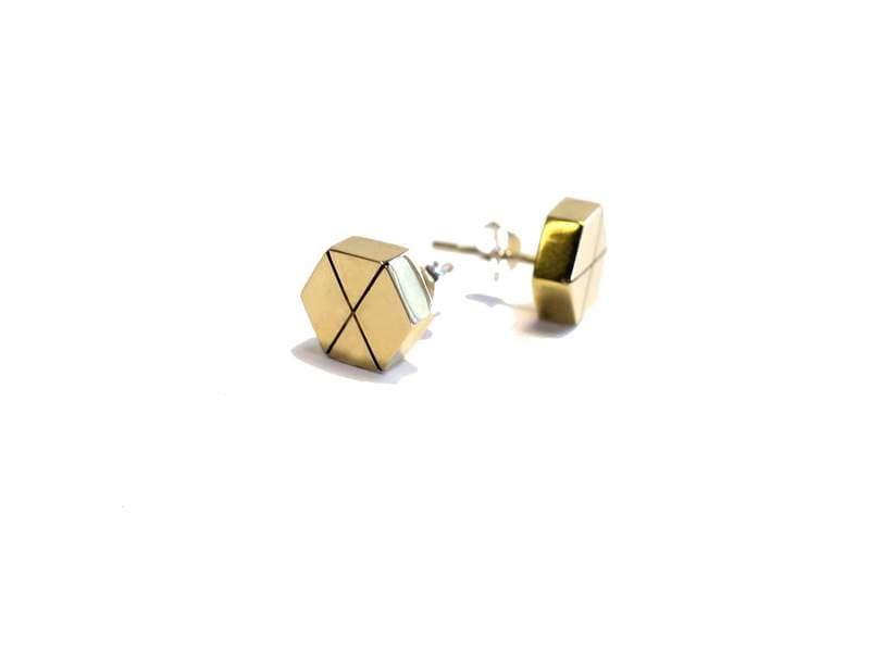 MyJulz - Brass Hexagon Earrings