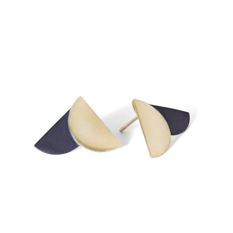 MyJulz - Gold and Charcoal Envelop Earrings