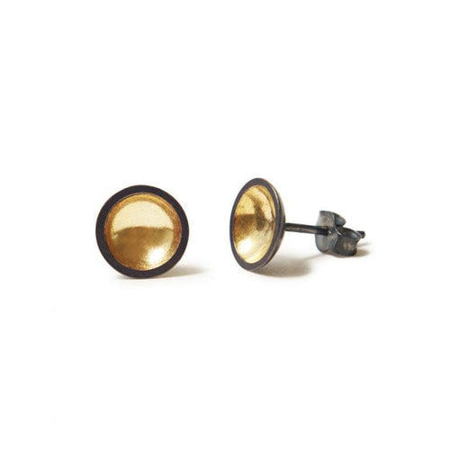 MyJulz - Charcoal and Gold Bowl Earrings (18k gold plated sterling silver and oxidised sterling silver)