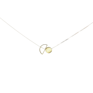 MyJulz - Circle and a Half Necklace - Sterling silver chain with brass circle and hollow half moon