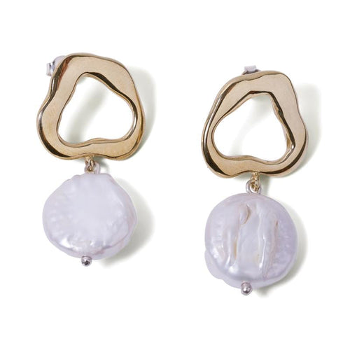 MyJulz - Geo Pearl Earrings (Brass and Pearl)