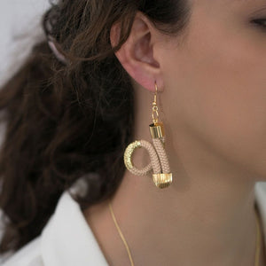 MyJulz - Gold Loop Earrings (Rose and Gold, embellished rope in gold and rose)
