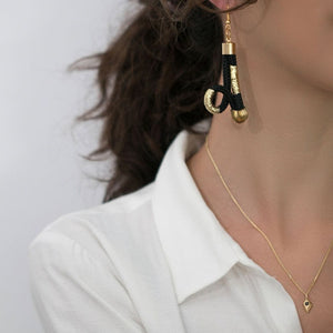 MyJulz - Gold Loop Earrings (Black and gold embellished rope twist earrings)