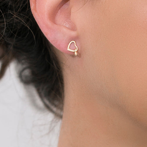 14k solid gold heart earrings