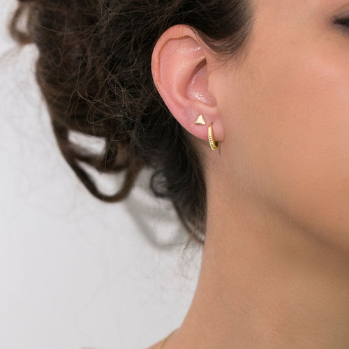 14K solid gold stud earring in triangle shape
