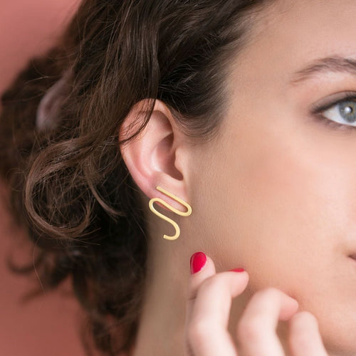 MyJulz - Gold Squiggle Earrings - Gold stud earrings handmade unique style