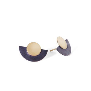 MyJulz - Gold and Charcoal Half Moon Earrings