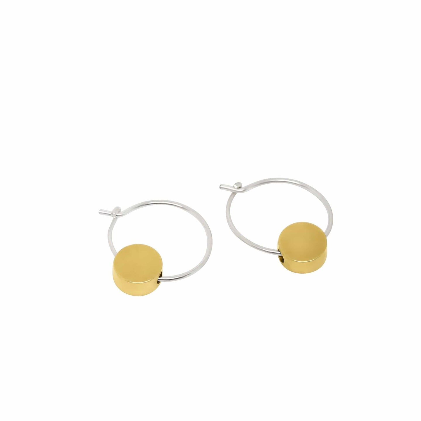 MyJulz - Gold Disc Earrings (Sterling Silver earrings with brass polished discs)