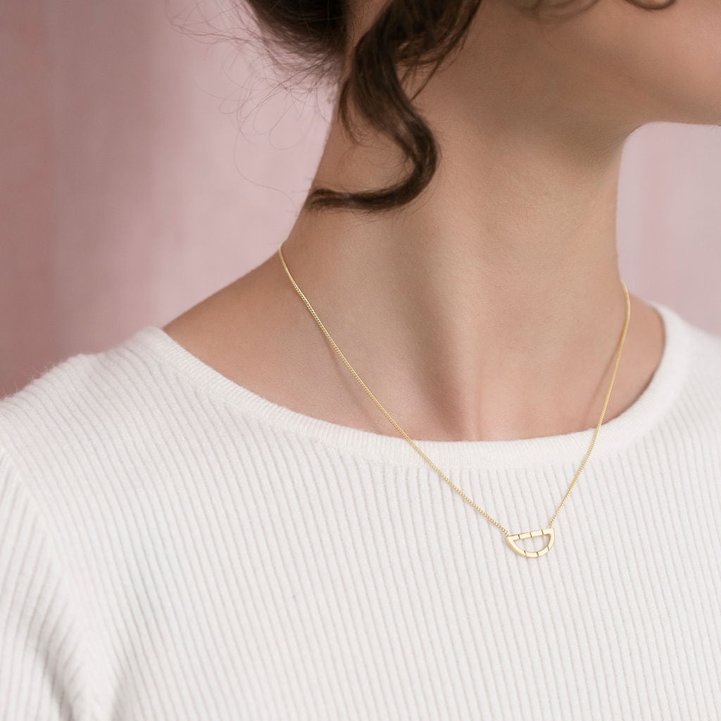 Unique gold necklace with half moon pendant gift