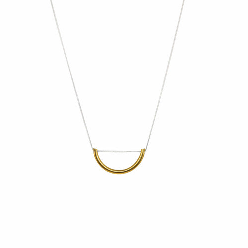MyJulz - Half Moon Necklace (Sterling silver chain and brass half moon pendant)