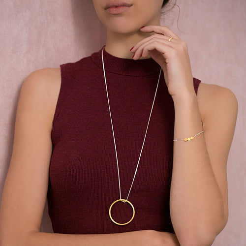 MyJulz - Large Brass Circle Necklace - Chuncky maxi length sterling silver necklace with brass circle pendant