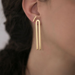 MyJulz - Gold Lobe Earrings ( Gold plated brass bar earrings)