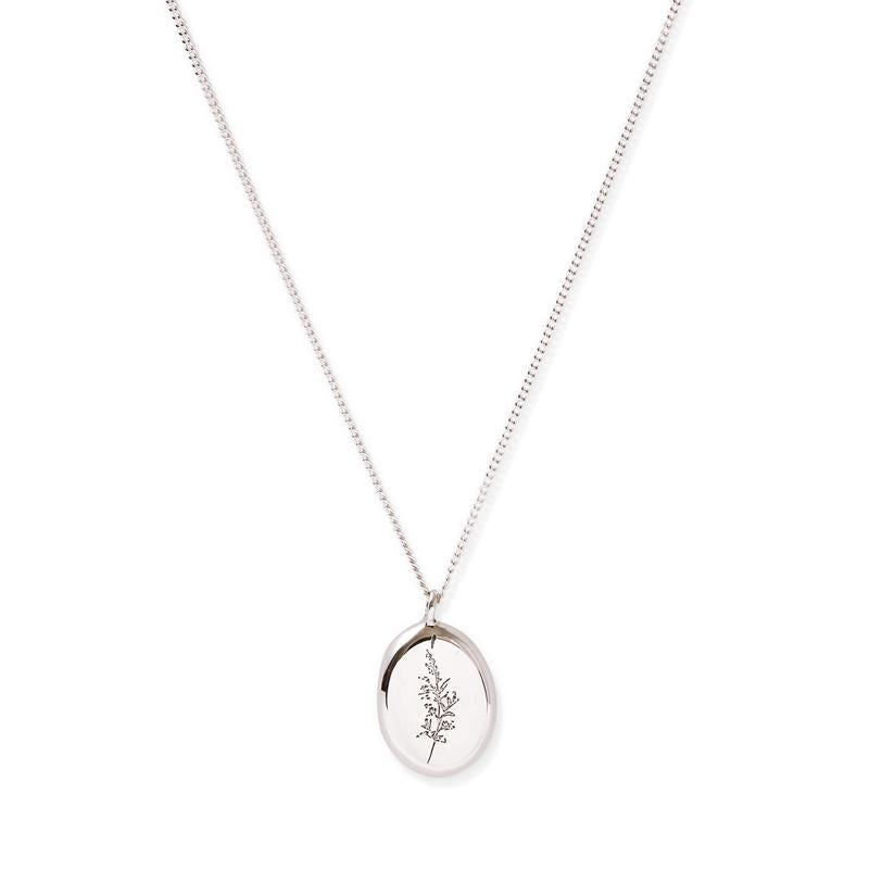 MyJulz - Botanical Sterling Silver Pendant Necklace (Sterling silver chain with solid silver pendant with floral imprint)