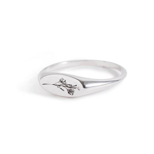 MyJulz - Silver Botanical Ring with Floral Detail