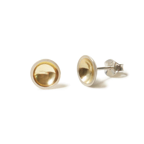 MyJulz - Silver and Gold Bowl Earrings (Bowl shaped 18k gold plated sterling silver earrings)