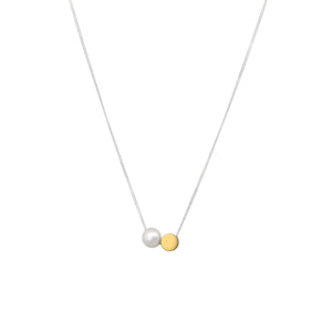MyJulz - Snow and Sun Necklace - Sterling Silver Chain and Brass Circle and River Pearl