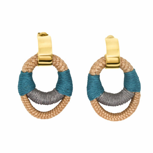MyJulz - Standout Circle Earrings (Rope embellished circular rings with blue and grey)