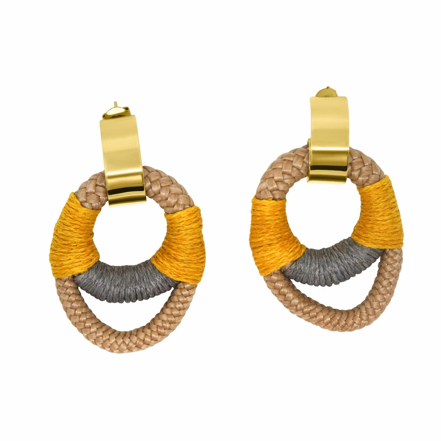 MyJulz- Standout Circle Earrings (Egg Yoke yellow and grey embellished rope earrings with 22k gold caps)