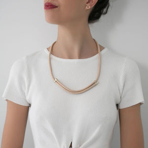 MyJulz - Subtle and Sweet (Beige) - Embellished rope necklace with 22k gold brass caps