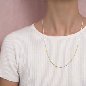 MyJulz - The Link Necklace (Sterling Silver Chain with 10 Delicate Brass Tubes)