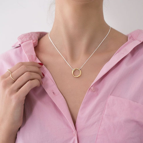 MyJulz - Two Circle Necklace - Sterling silver chain with 2 interlocking brass links
