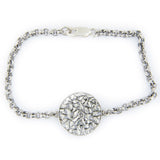 Shema Sh'ma Bracelet Silver on Antique Rolo Chain